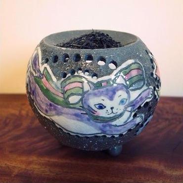 猫さん 茶香炉(紫 ・ピンク)