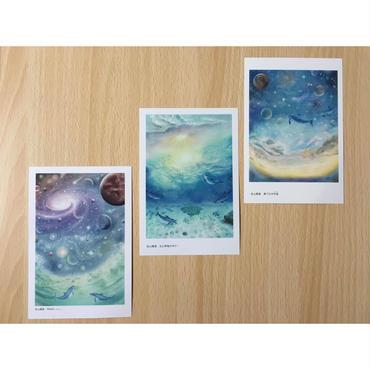ポストカード3枚セット(「光と神海の中で・・・」「PRAVA」「果てなき宇宙」)