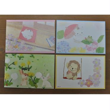 和紙はり絵 動物シリーズ(おねむり猫・うさぎとたんぽぽ・猫とあじさい・モモタ)