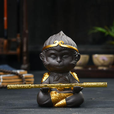 瞑想・祈りの孫悟空 陶磁 Monkey King 茶道具 スマホホルダー 風水グッズ