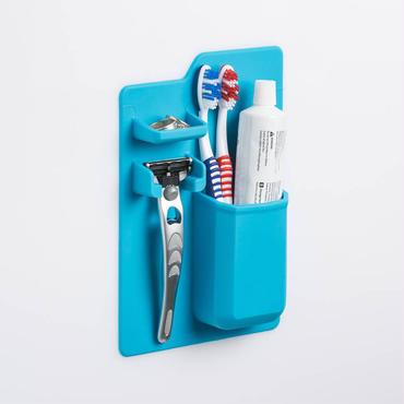 シリコーンバスルーム収納 歯ブラシ・歯磨き粉・かみそり収納