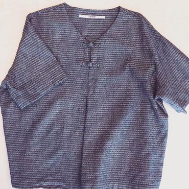 【 OMNIGOD 】Jacquard V neck smock shirt