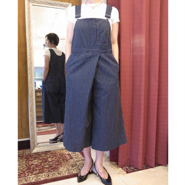 【 OMNIGOD 】Over all tuck culote -STRIPE-