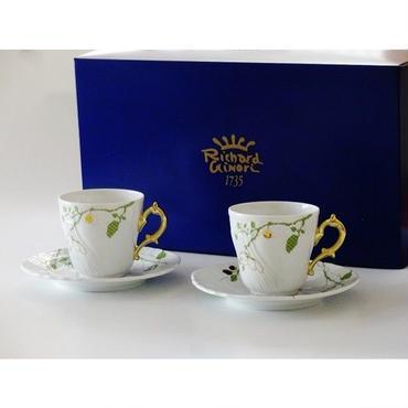 リチャード・ジノリ (Richard Ginori) フィオーリヴェルディ コーヒーカップ&ソーサー [L] 2客セット(ペアブランドボックス付属)