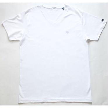KIBAMUSHA EMBROIDERY V-NECK TEE/鬼馬武者刺繍VネックTシャツ/KOBUSHI BRAND/コブシブランド(WHITE/SILVER)