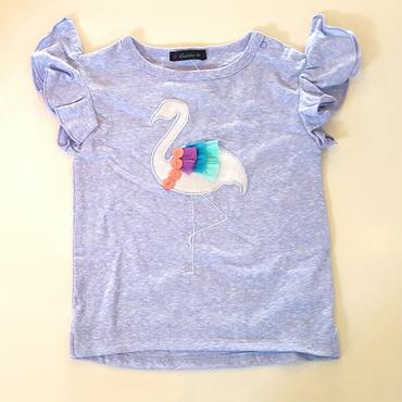 【Caldia】フラミンゴ アップリケ Tシャツ