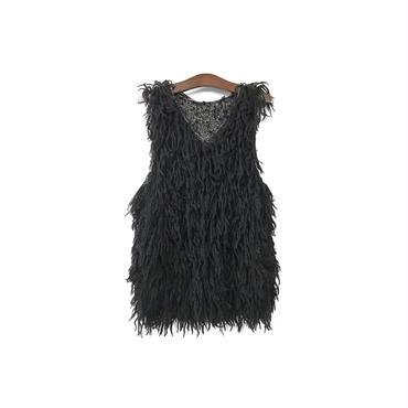 Sasquatchfabrix. - Fur Knit Sleeveless Tops (size - L) ¥10500+tax