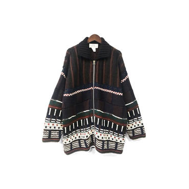 USED - Graphic Zip Knit Jacket ¥14000+tax