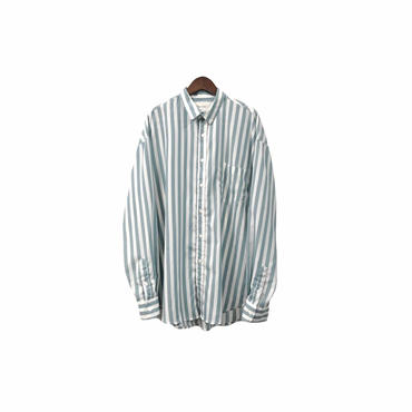 """ Time is on "" Stripe Over Shirt (size - F) ¥8000+tax【着画あり】"