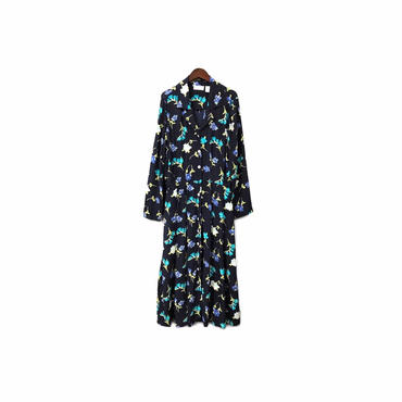 """ USED "" Rayon Floral Long Shirt One-piece ¥12000+tax【着画あり】"