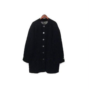 USED - Quilting Velor Nocollar Coat ¥13500+tax