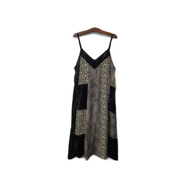 USED - Patchwork Design Camisole Long One-piece ¥15000+tax