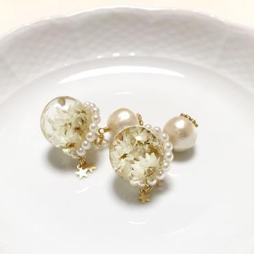 ヤマハハコのピアス(白色)