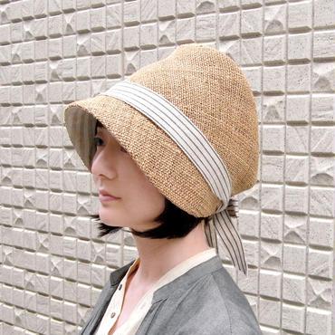 麦わら帽子 レディース【ストライプリボン】