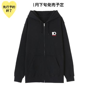 【1月下旬発売予定】10th記念刺繍ジップパーカー【KMT-299BK】