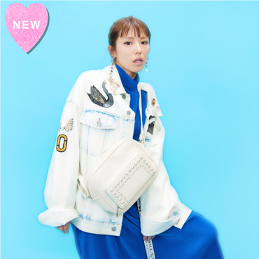 お財布機能付きビジューショルダーバッグ【KMT-306WH】