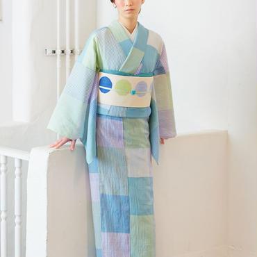 【5-9きもの】綿麻きもの 大格子コウさん 薄浅葱 大西新之助商店