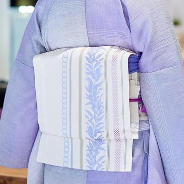 【5-9きもの2017】博多織八寸名古屋帯 変わり献上月桂樹 バニラ