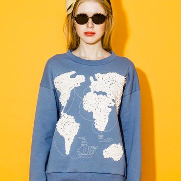 世界地図の刺繍スウェット(ブルー)