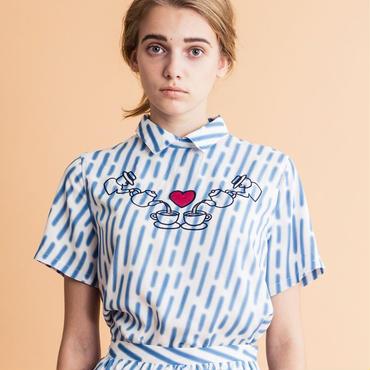 雨模様 x アフターヌーンティーアップリケ半袖シャツ