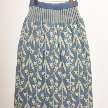 逆さまスズランのニットスカート (light blue)