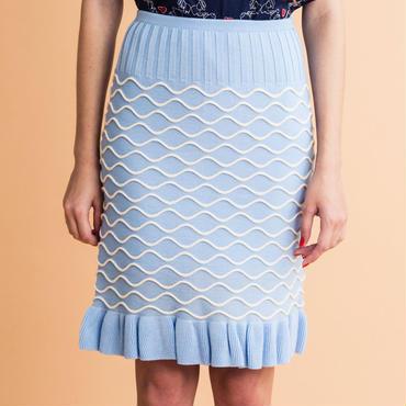 水面パターンのニットスカート (light blue)