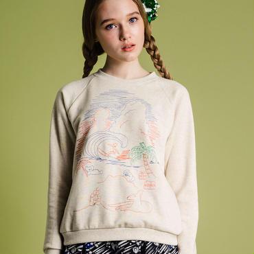 ビーチの風景刺繍のスウェット (ivory)