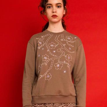 梅の刺繍スウェット (beige)