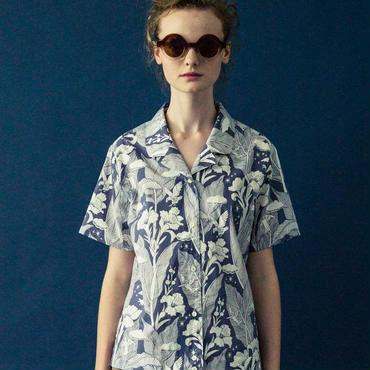 カンナの花のプリントボウリングシャツ