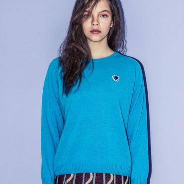 ワンポイントカシミア混セーター(turquoise)