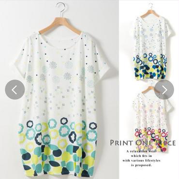 【夏物処分SALE!】 ステッチパネル柄 プリント 裾タック コクーンチュニック  おしりすっぽり Tシャツ