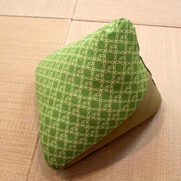 三角枕 七宝 黄緑 × ぼかし うぐいす