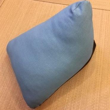 三角枕 L  土布 ターコイズ ×  合皮 ブラック