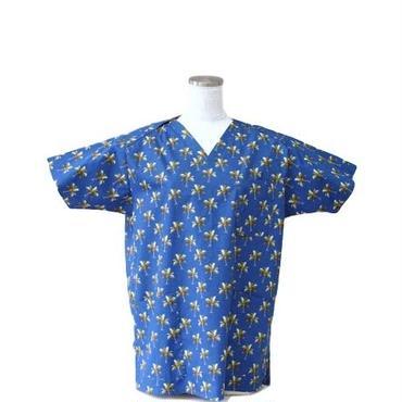 女性用 No.5535 ヤシの木(青) 医療用、介護用スクラブシャツ