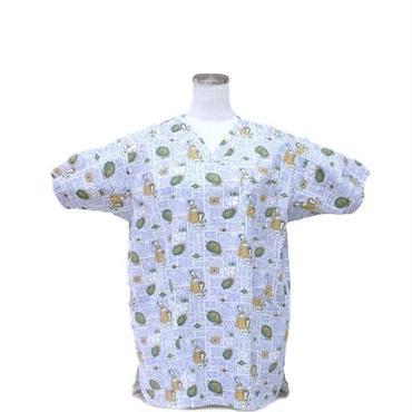 女性用 No.5561 ハワイアン・フラ・格子(ブルー)    医療用、介護用スクラブシャツ