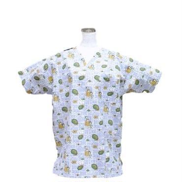 男性用 No.3208   M        ハワイアン・フラ格子(青)<5561>     医療用、介護用スクラブシャツ