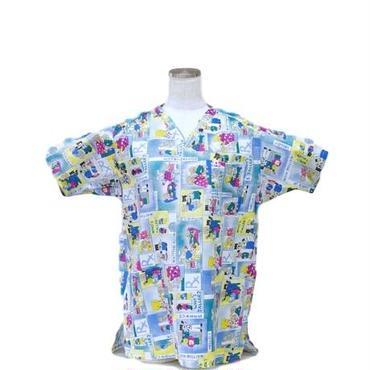 女性用 No.5557 カエルの病院(白)    医療用、介護用スクラブシャツ