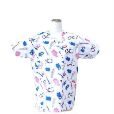 女性用 No.5550 飛行機(ブルー)  医療用、介護用スクラブシャツ