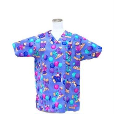 女性用 No.5560 クマ・ナース(紺)    医療用、介護用スクラブシャツ