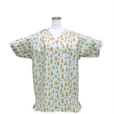 男性用 No.3216     M パイナップル(青)<5503>    医療用、介護用スクラブシャツ