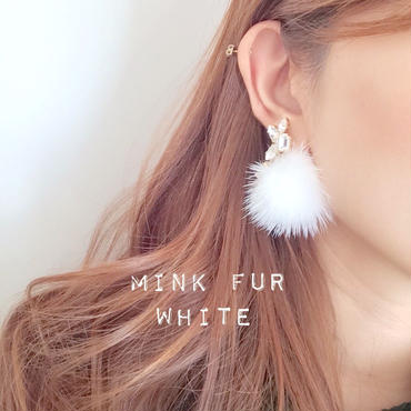 ラスト1点再販!mink fur♡(white)ピアス イヤリング