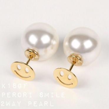 再再販!K18gf perori smile◡̈⃝2way pearlキャッチピアス