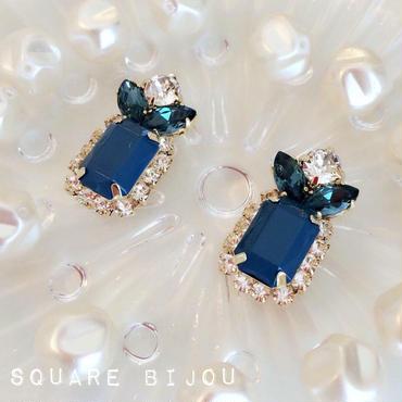 square bijou♡ピアス イヤリング dark blue