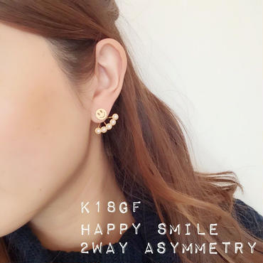 K18gf happy smile◡̈⃝2way アシンメトリーピアス