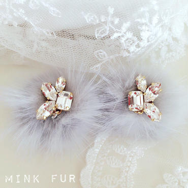 限定1点!mink fur♡(light gray)ピアス イヤリング