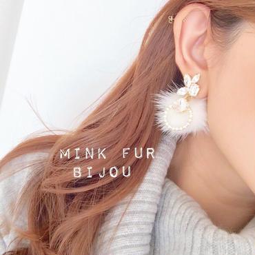 再販♡mink fur bijou♡ピアス イヤリング (white)