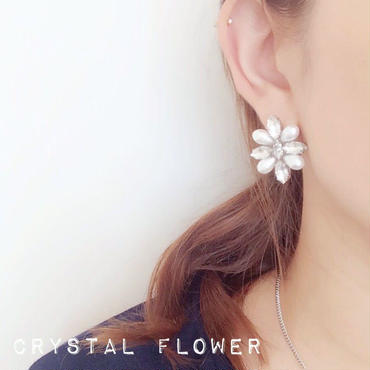 crystal flower♡ピアス イヤリング(silver)