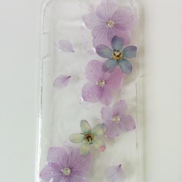 紫陽花とブルースターのiPhoneカバー(透明)※送料無料