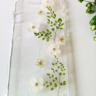 白い紫陽花のスマホカバー ※送料無料