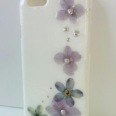 紫陽花とブルースターのiPhone6/6s カバー(白)※送料無料